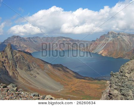 vulcanic lake on the top of legendary North Korea Paktusan mountain