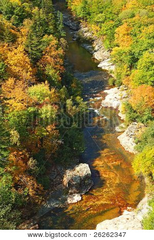 Fall canyon of Vanchin Milogradovka river in russian Primorye