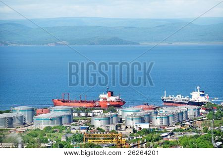 oil tankers at russian petroleum port Vladivostok