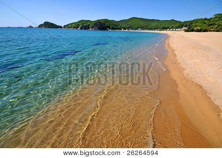Beautiful clear beach in famous russian primorye bay Spokoynaya