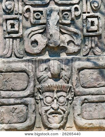 ancient aztec stone relief background