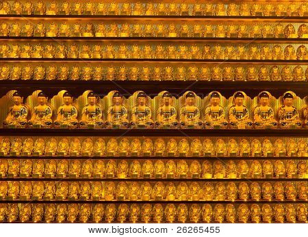 Golden buddha statues at Yakcheonsa Temple, Jeju Island, South Korea