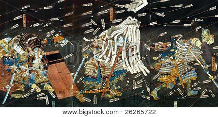 Постер, плакат: Битва самураев на японская традиционная живопись, холст на подрамнике