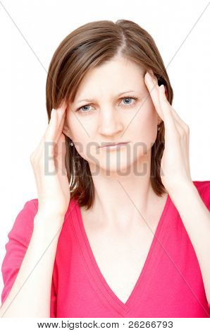 woman touching her temples with both hands having a headache