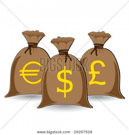 Vector de tres sacos de dinero completo