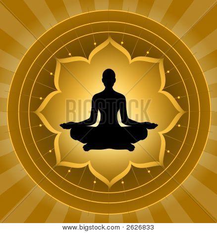 Yoga Silhouette On Lotus Background
