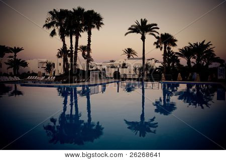 swimming pool at evening, Djerba, Tunisia