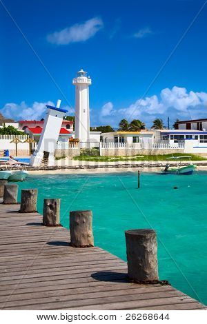 old tilted and new lighthouses in Puerto Morelos near Cancun, Quintana Roo, Mexico