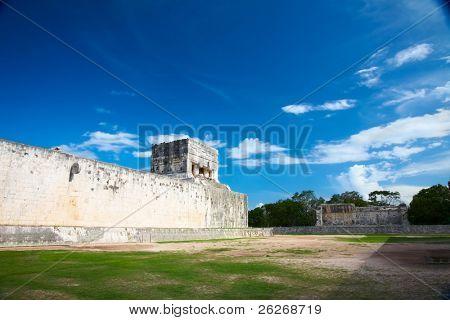 "Great Ball Court for playing ""pok-ta-pok"" near Chichen Itza pyramid, Mexico"
