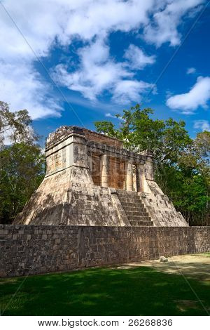 "Temple of the Bearded Man at the end of Great Ball Court for playing ""pok-ta-pok"" near Chichen Itza pyramid, Mexico"