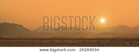 sunset in Sahara desert