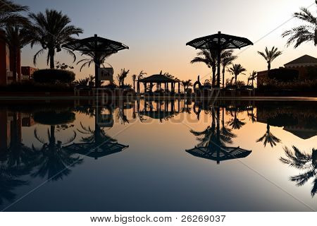 swimming pool at morning, Hurghada, Egypt