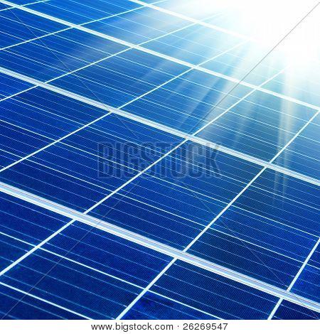solar panel with sunbeams