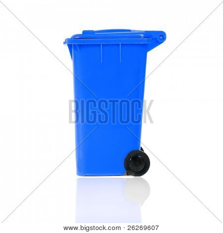 empty blue recycling bin