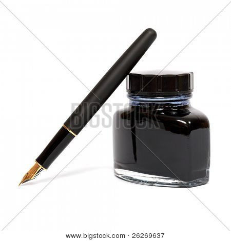fountain pen with the ink bottle