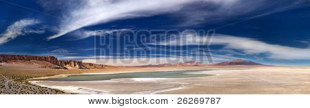 panoramic view of salt lake Salar de Tara, Chile