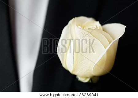 white rose on the suit of groom with a shallow DOF