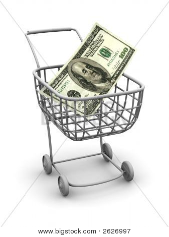 Consumer Basket With Dollar. 3D