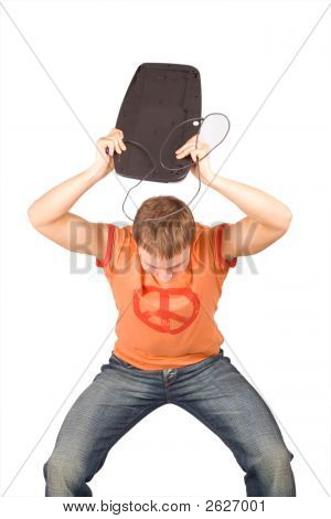 Man Crushing A Computer Parts In Rage