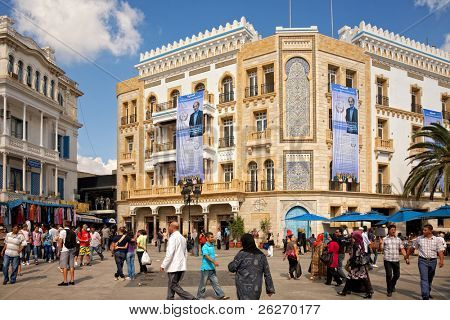 TUNIS - OCTOBER 5: Election posters on the building before first election after Jasmine revolution on October 5, 2011 in Tunis. On October 23 Tunisians are set to vote for a constitutional assembly.