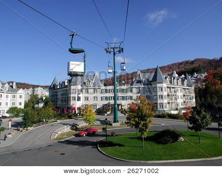 centre area at Mont Tremblant, Quebec, with cable car and hotel