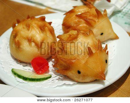 a kind of chinese dim sum shape like porcupine