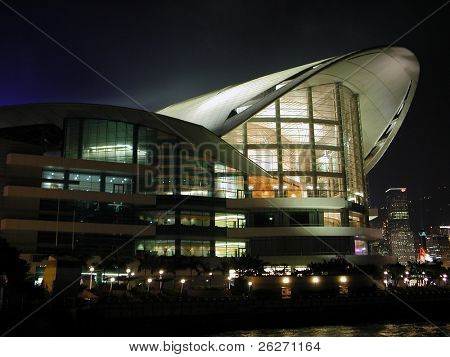 Night scene of Hong Kong Convention and Exhibition Centre