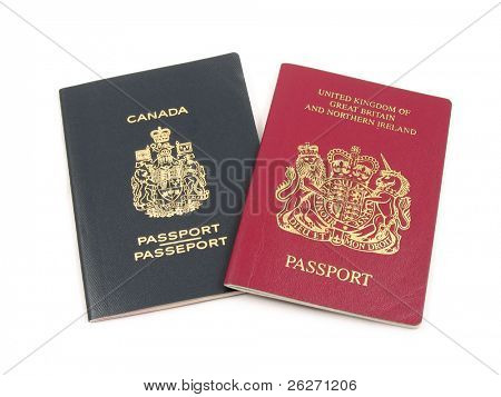 British and Canadian passport in isolated white