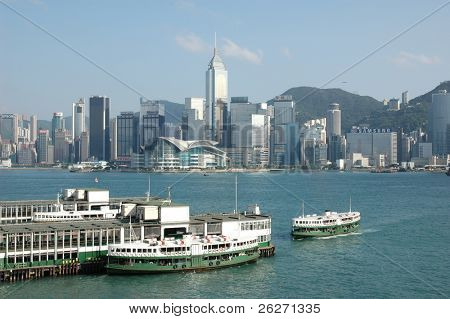 Victoria Harbor in Hongkong. Kowloon Blick über an der Hong Kong Convention and Exhi entnommen