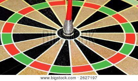 Darts Close Up Of Bulls Eye On Dartboard