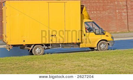 Yellow Blank Delivery Van Truck Of