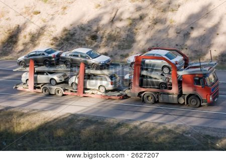 Car Carrier Truck Deliver New Auto Batch To Dealer Part Of