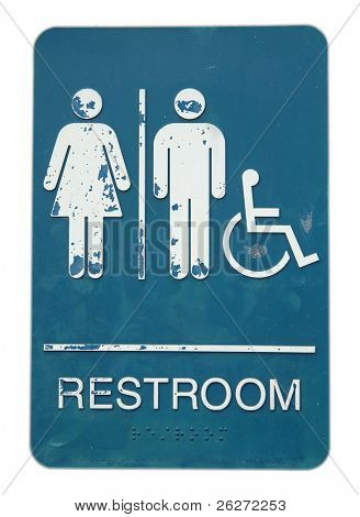 Restroom sign of unisex and disable, in isolated white background