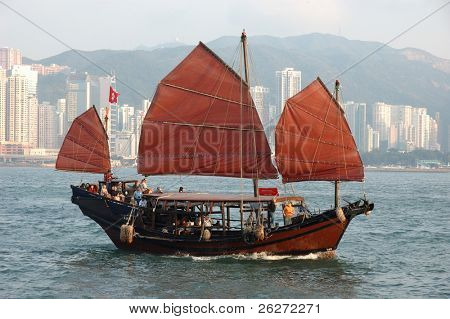 Chinese sailing ship in Hong Kong Victoria Habour