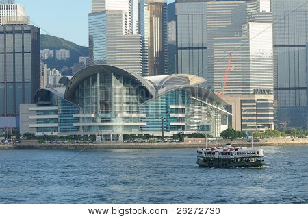 Hong Kong Convention and Exhibition Centre and ferry in habor