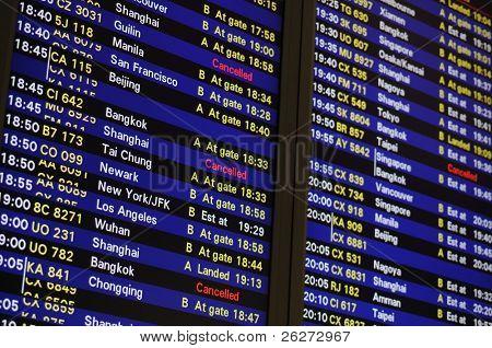 Flug Zeitplan Informationstafel in einem Flughafen