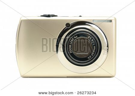 Compact digital camera in isolated white background