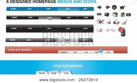 6 designed homepage menus and icons