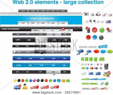 Web 2.0 elements - large collection of icons, stickers, menus and speech bubbles.