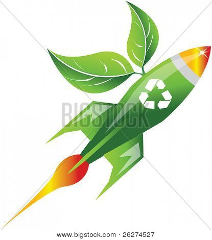 Green space rocket with leafs and recycle symbol