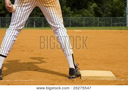 1st Baseman with ball in hand without any other players in view