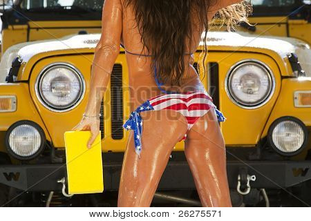 Model at the car wash