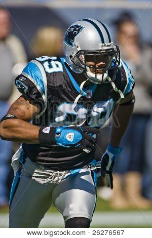 CHARLOTTE, NC - 19 de OCT: Panteras Wide Receiver, Steve Smith, en el New Orleans Saints Vs Carolina