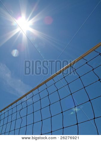 Yellow volleyball net shot from below against blue sky