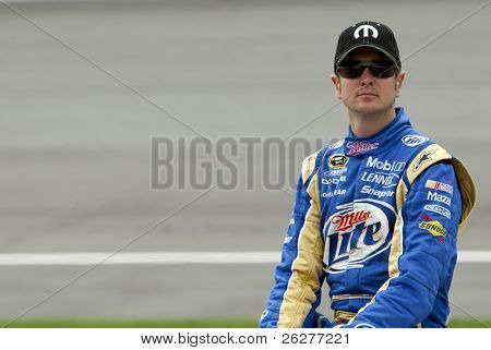 BROOKLYN, MI - JUNE 11:  Kurt Busch after qualifying on the pole for the Heluva Good! Sour Cream Dips 400 race at the Michigan International Speedway in Brooklyn, MI on June 11, 2010