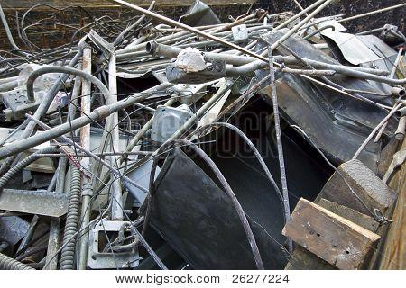 Scrap metal rusting away in a junk yard