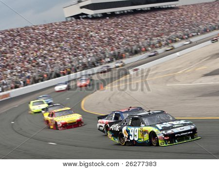 LOUDON, NH - JUNE 27: Carl Edwards races off turn one for the LENOX Tools 301 race at the New Hampshire Motor Speedway in Loudon, NH on June 27, 2010