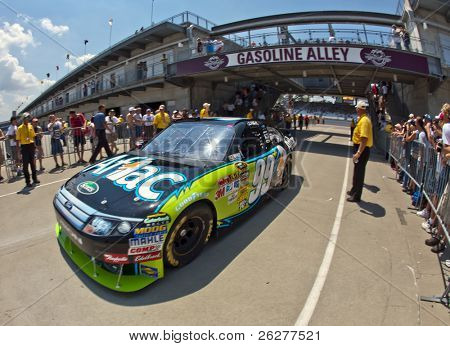INDIANAPOLIS, IN - JULY 24:  Carl Edwards brings his Aflac Ford back into the garage area for the Brickyard 400 race at the Indianapolis Motor Speedway on July 24, 2010 in Indianapolis, IN.