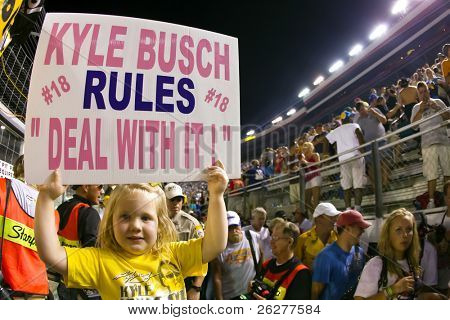 BRISTOL, TN - AUG 21:  5 year old Harper Stiner shows her support for Kyle Busch as he wins all three races at the Bristol Motor Speedway in Bristol, TN on Aug 21, 2010.