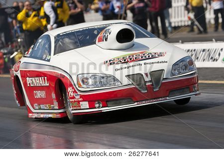 GAINESVILLE, FL - MARCH 13:  Pro Stock driver, Mike Edwards, brings his car down the track during the 41st Annual Gatornationals at the Gainesville Raceway in Gainesville, FL on Mar 13, 2010